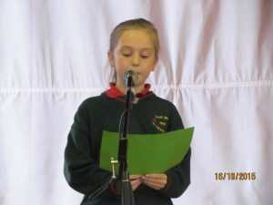 Eva reading the Proclamation