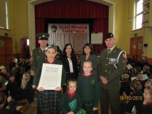 Organiser Ms. Bernie Fahy, Principal Doheny, Sgt. Quinn, Gunner Scally, Diana, Ava and Eva.