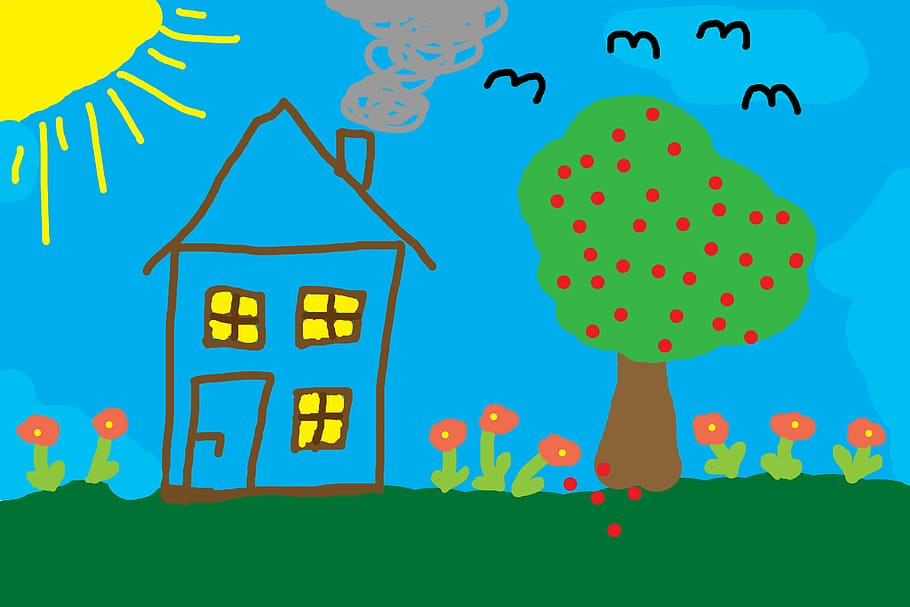 children-drawing-home-tree-meadow